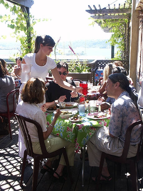 Diners at the Pink Door Restaurant