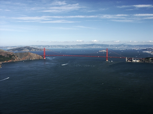 Golden Gate Bridge — Looking Into San Francisco Bay,