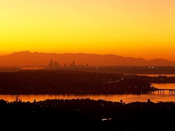 Skyline of Seattle WA at Sunset