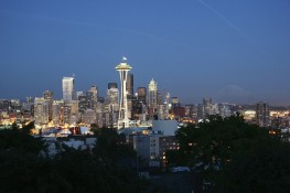 Seattle Skyline & Mt. Rainier at Dusk