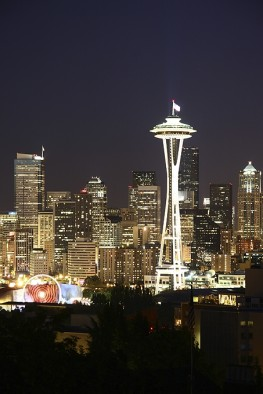 Seattle Skyline & the Space Needle at Night