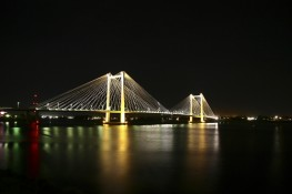 Nightscape of the Ed Hendler Cable Bridge