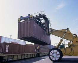 Loading Containers onto a Rail Car