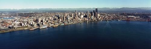 Aerial Panorama of Seattle WA from Elliott Bay