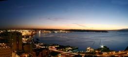 Seattle WA Waterfront Panorama at Dusk