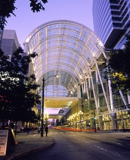 Glass Canopy over Pine Street at the Seattle Convention and