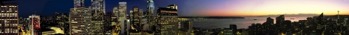 270˚ Composite Panorama of Seattle at Dusk