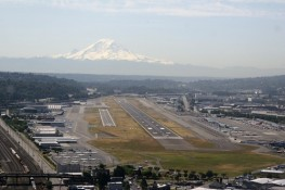 Boeing Field Aerial View -- with Mt. Rainier