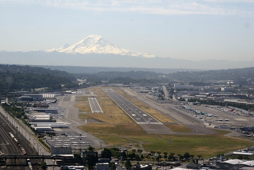 Boeing Field Aerial View — with Mt. Rainier