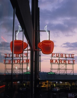 View of the Pike Place Market at dusk, Seattle, WA