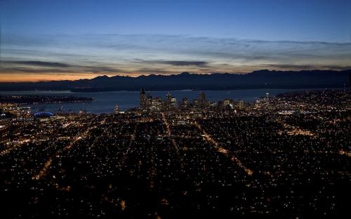 Aerial nightscape of Seattle, WA