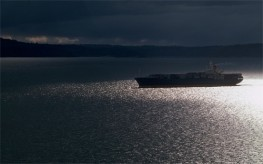 Container Ship on Puget Sound in a Storm