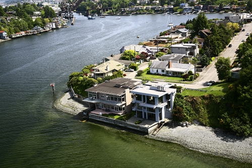Helicopter Aerial of a Residence on the Shilshole Waterway