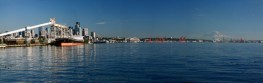 Seattle WA Waterfront Panorama with Mt. Rainier (r.)