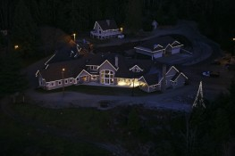 Helicopter View of Residential Christmas Lighting
