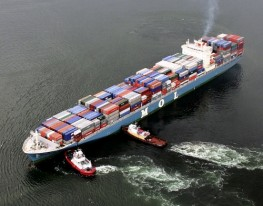 Container Ship Towed by 2 Crowley Maritime Tugboats