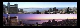 Day & Dusk Panoramas of Seattle WA from Westlake Center