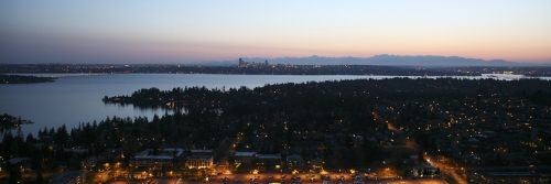 Panorama of Seattle WA at Dusk Looking West