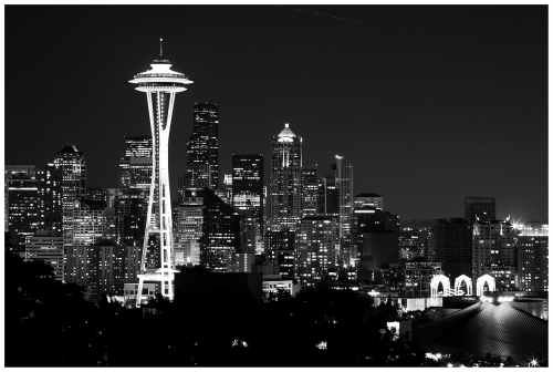 View of the Skyline of Seattle WA at Night