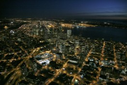 Aerial Nightscape of Seattle WA