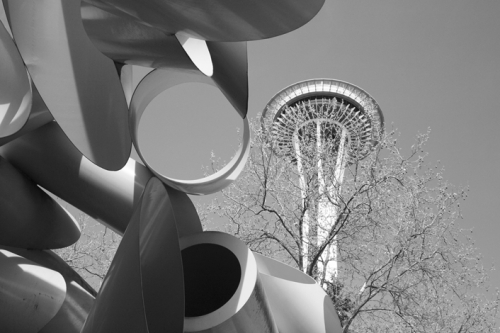The Space Needle & Sculpture at the Seattle Center, Seattle, WA