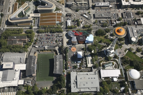 The Space Needle, Experience Music Project, and Memorial Stadium